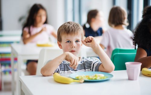 A group of cheerful small school kids in canteen, eating lunch and talking.